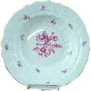 "Vintage Herend Raspberry Rose Porcelain 9 1/2"" Flat Soup Plate - MINT #4"