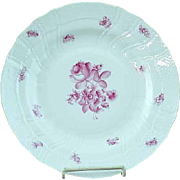 "Vintage Herend Raspberry Rose Porcelain 10"" Dinner Plate - MINT #3"