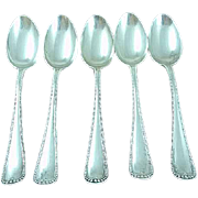 "5 Heavy Antique Gorham Newcastle Sterling Silver 7"" Place Spoons No Mono"