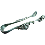 RARE Antique Ornate Coin Silver Chrysanthemum Ice Or Sugar Tongs