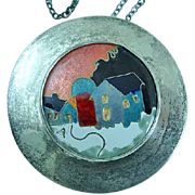 Sterling Silver and Cloisonne Necklace Pendant Chain Signed Alexa Smarsh