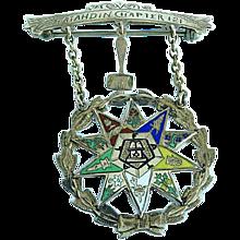 Antique 1928 10K Gold Enamel OES Eastern Star Worthy Matron Masonic Pin Katahdin