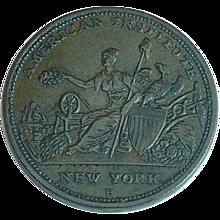 1833 American Institute New York Robinson's Jones & Co. Hard Time Token