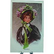 1910 Philip Boileau Postcard Beautiful Girl in Big Floral Hat - Yesterday