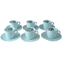 6 Vintage Spode Bridal Rose Y2862 Demitasse Cups And Saucers Pink Roses