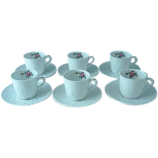 6 Vintage Spode Bridal Rose Y2862 Demitasse Cups And Saucers Pink Roses