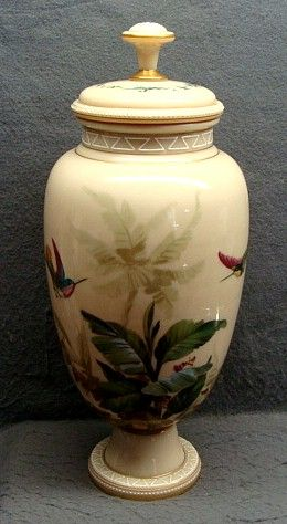 Antique Bohemian Harrach Opaline Glass Lidded Urn With Enamel Painted Hummingbirds