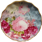 Theodore Haviland Limoges Rose Filled Fluted Shallow Bowl with Excellent Colors Signed Dubois