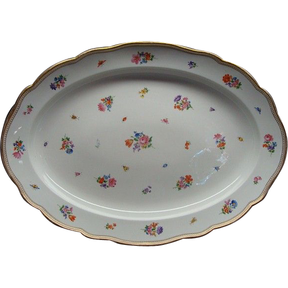 "20 1/2"" Meissen Flower & Insect Platter Crossed Swords 1st Quality"