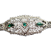Antique 14k White Gold And Tourmaline Art Deco Filigree Bracelet