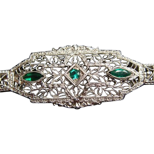 Antique 14k White Gold And Tourmaline Art Deco Filigree Bracelet