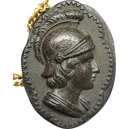 Civil War Gutta Percha Pendant Of Roman Soldier