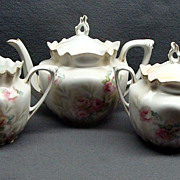 Antique Hand Painted 3 Piece R S Prussia Tea Set Mint Tiffany Finish