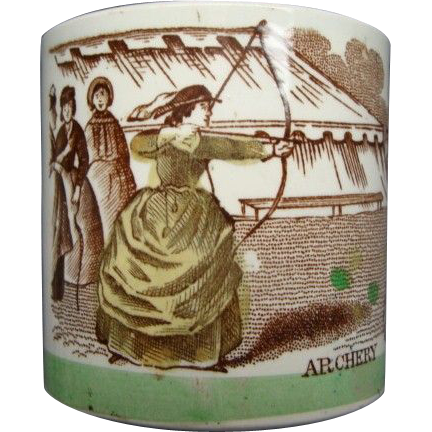 Multi Color Transfer Staffordshire Child's Mug Archery Ca 1825