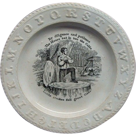 Antique Staffordshire ABC Motto Plate Little Stroke Fell Great Oaks