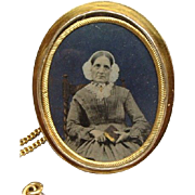 Impressive Victorian Rose Gold Filled Photo Locket Brooch Identified Sitter