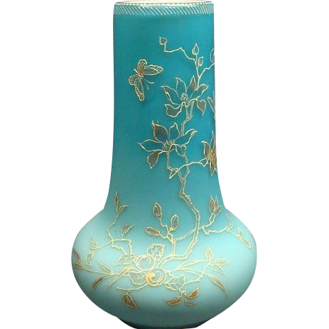 Victorian Blue Satin & Enamel Mt Washington Webb Era Cased Art Glass Vase