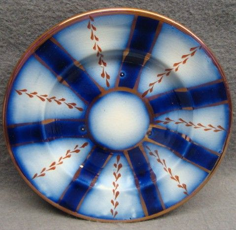 Flow Blue Gaudy Welsh Wagon Wheel Pattern Child's Plate 2