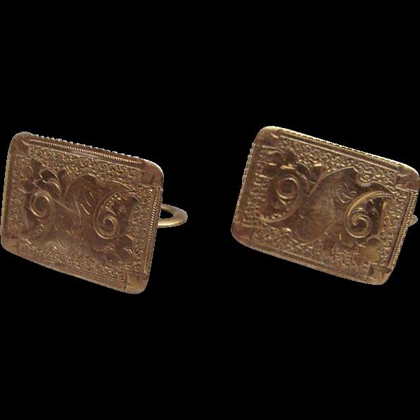 Fancy Victorian Gold Filled Engraved Earrings