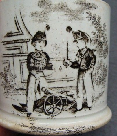 Staffordshire Child's Mug Soldiers and Cannon Ca 1825