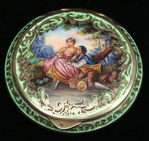 Antique Sterling Guilloche Enamel Compact Powder Case
