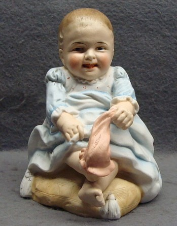 Victorian Figural Bisque Match Holder Fairing Baby Pulling His Sock Shafer & Vater