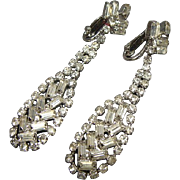 Wonderful Pair Of Vintage Long Dangle Rhinestone Earrings