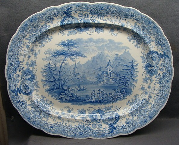"19"" Romantic Staffordshire Transferware Platter Tyrolean Ca 1830"