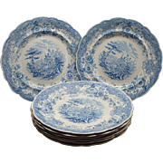 8 Staffordshire Transferware Dinner Plates Tyrolean Ca 1830