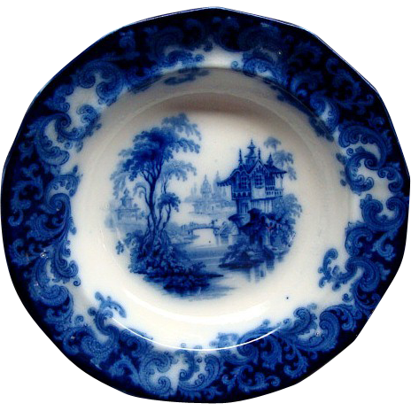 "10 1/2"" Staffordshire Flow Blue Columbia Pattern Flat Soup Plate Ca 1846"