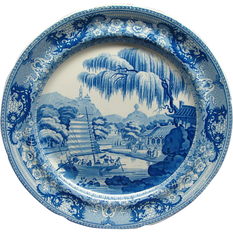 8 Davenport Staffordshire Pearlware Plates Chinese Harbor Scene Ca 1815