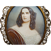 Early 19th Century Bronze Framed Miniature Portrait Painting Lady