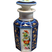 Beautiful Antique Cobalt Blue Paris Porcelain Bottle Ca 1850