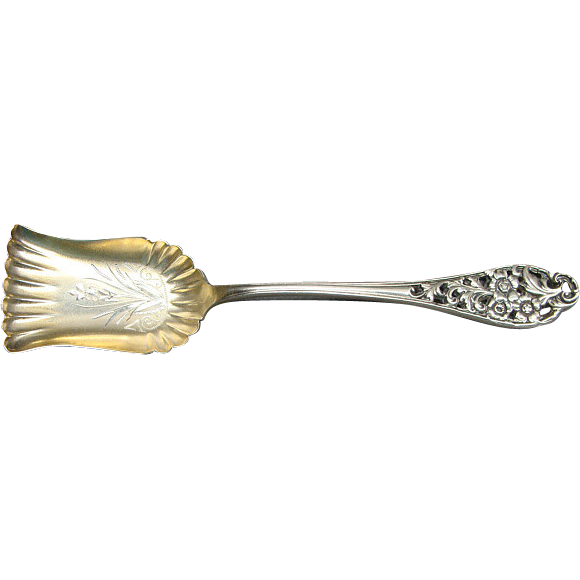Victorian Bright Cut Sterling Silver Sugar Shovel Spoon