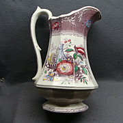 """12 1/2"""" Staffordshire Excelsior Water Pitcher Wooliscroft Ca 1850"""