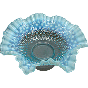 "11 1/2"" Fenton Blue Opalescent Hobnail Glass Brides Basket"