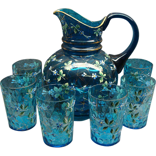 Antique Bohemian Moser Water Set Blue Glass Enamel Painted