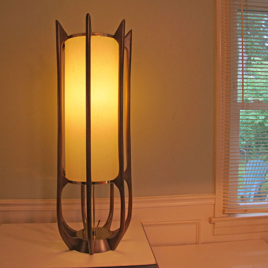 ^ Mid entury Modern Lamp Danish Modeline eak Brass Floor from ...