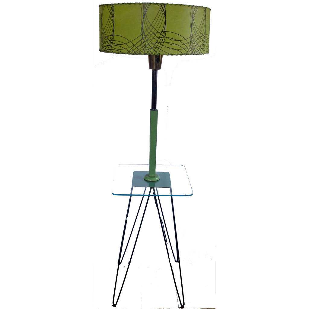 Mid century modern floor lamp end table modernist for Floor lamp behind side table