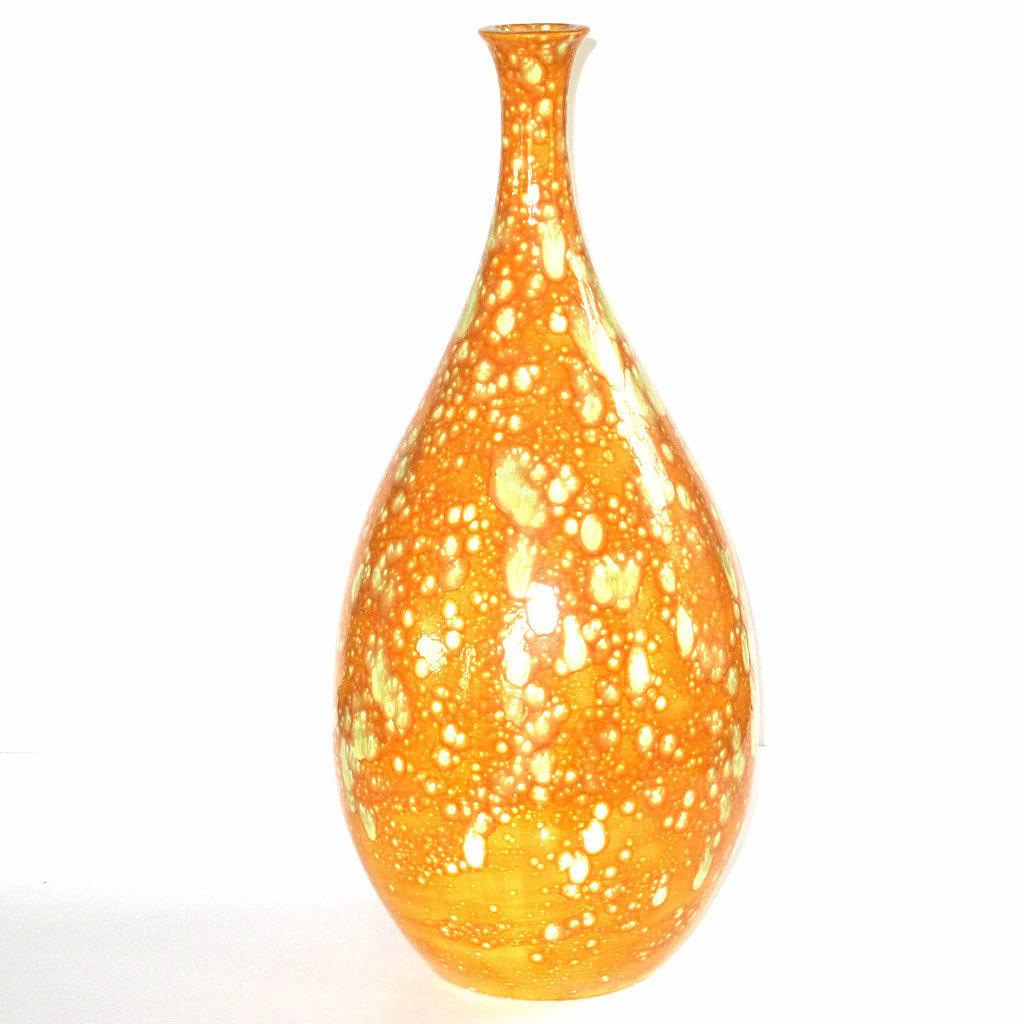 huge mid century modern orange peel lime lava drip pottery vase  - huge mid century modern orange peel lime lava drip pottery vase