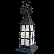Arts & Crafts Copper Slag Glass Wall Sconce Hanging Lantern Lamp