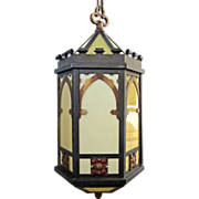 1920's Arts & Crafts Gothic Church LG Hanging Pendant Ceiling Lamp Fused Glass Polychrome Light