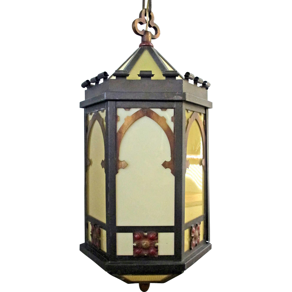 Arts and crafts light fixtures - 1920 S Arts Crafts Gothic Church Lg Hanging Pendant Ceiling Lamp Fused Glass Polychrome Light