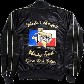 Jacket Billy Bob's VIP Member Black Satin 1984 Fort Worth Honky Tonk Texas Club Edition Med