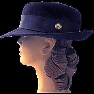 Chanel Fedora Hat 1980s Garfinckel's Navy Felt Sz 58