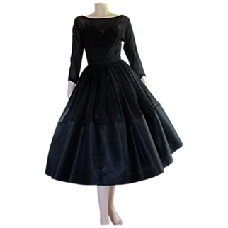 50's 60's Little Black Dress Chiffon Taffeta Cocktail Party Tea Length