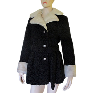 VTG 1960's 70's Miracurl Faux Fur Coat Persian Lamb White Mink Trench Jacket Mini