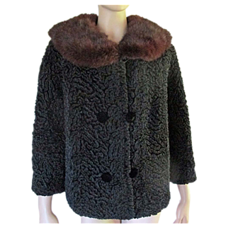 Vtg 1950's 60's Faux Persian Lamb Jacket Brown Mink Fur Collar