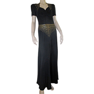 1930's 40's Black Dress Old Hollywood Glamor Gown Metal Rosettes