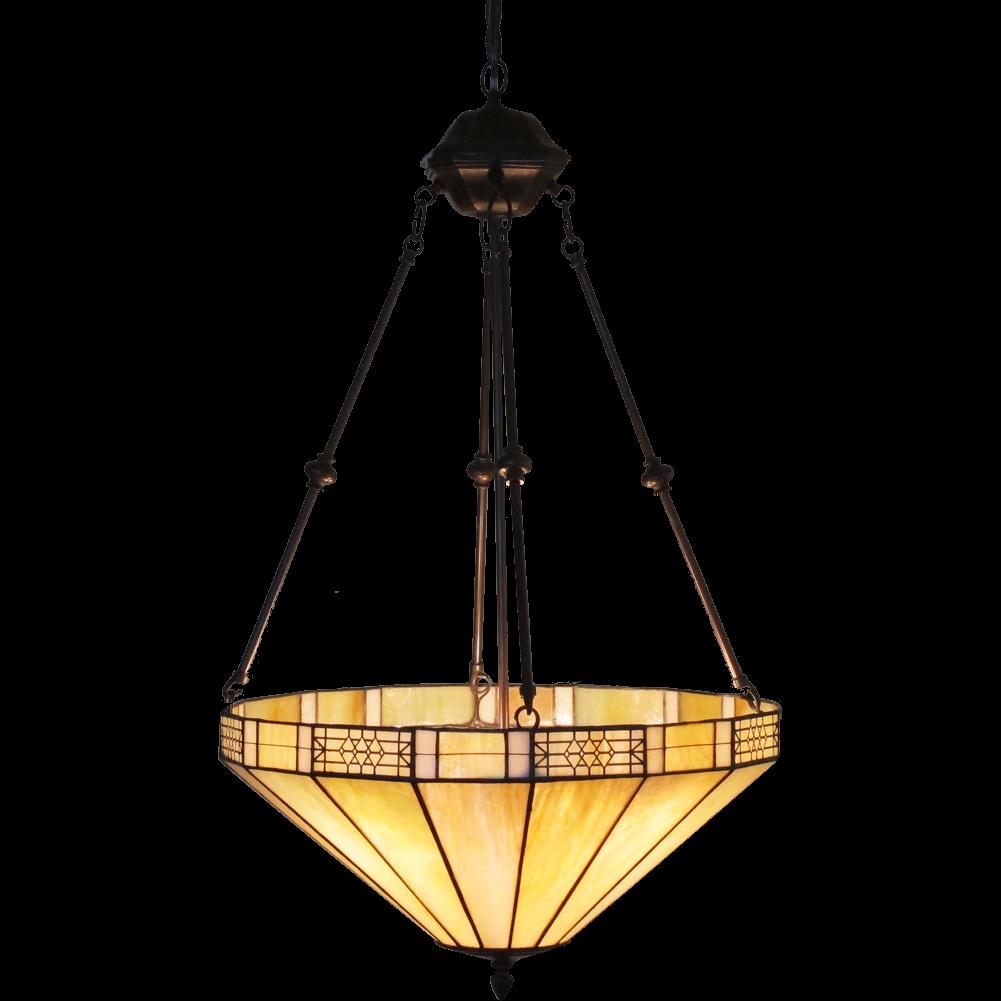 Leaded Caramel Slag Glass Lamp Iridescent Hanging Pendant